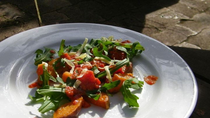 Roasted Sweet Potato and Rocket Salad