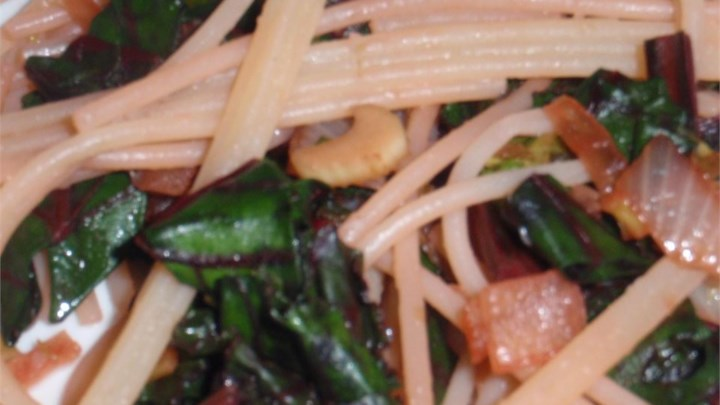 Beet Greens and Noodles