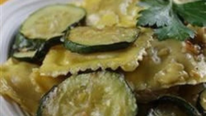 Zucchini with Mushroom Ravioli in Truffle Butter Sauce