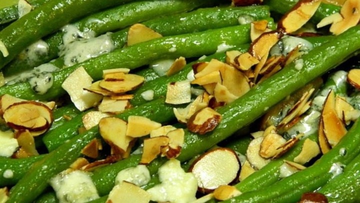 "Green Bean ""Almondine"" with Garlic and Blue Cheese"
