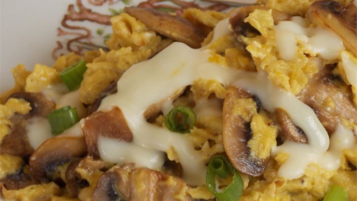 Onion and Mushroom Scrambled Eggs