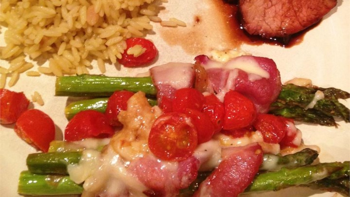 Bacon-Wrapped Asparagus Spears with Tomatoes and Taleggio Cheese