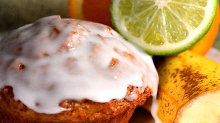 Banana Mango Muffins with Lime Glaze