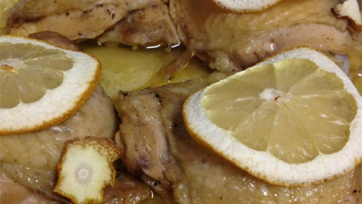 Baked Lemon Chicken Thighs with Mushroom Sauce