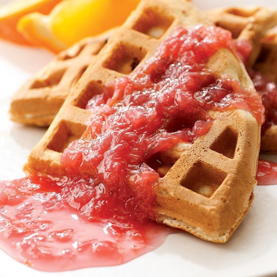 Rhubarb Waffles with Rhubarb Sauce