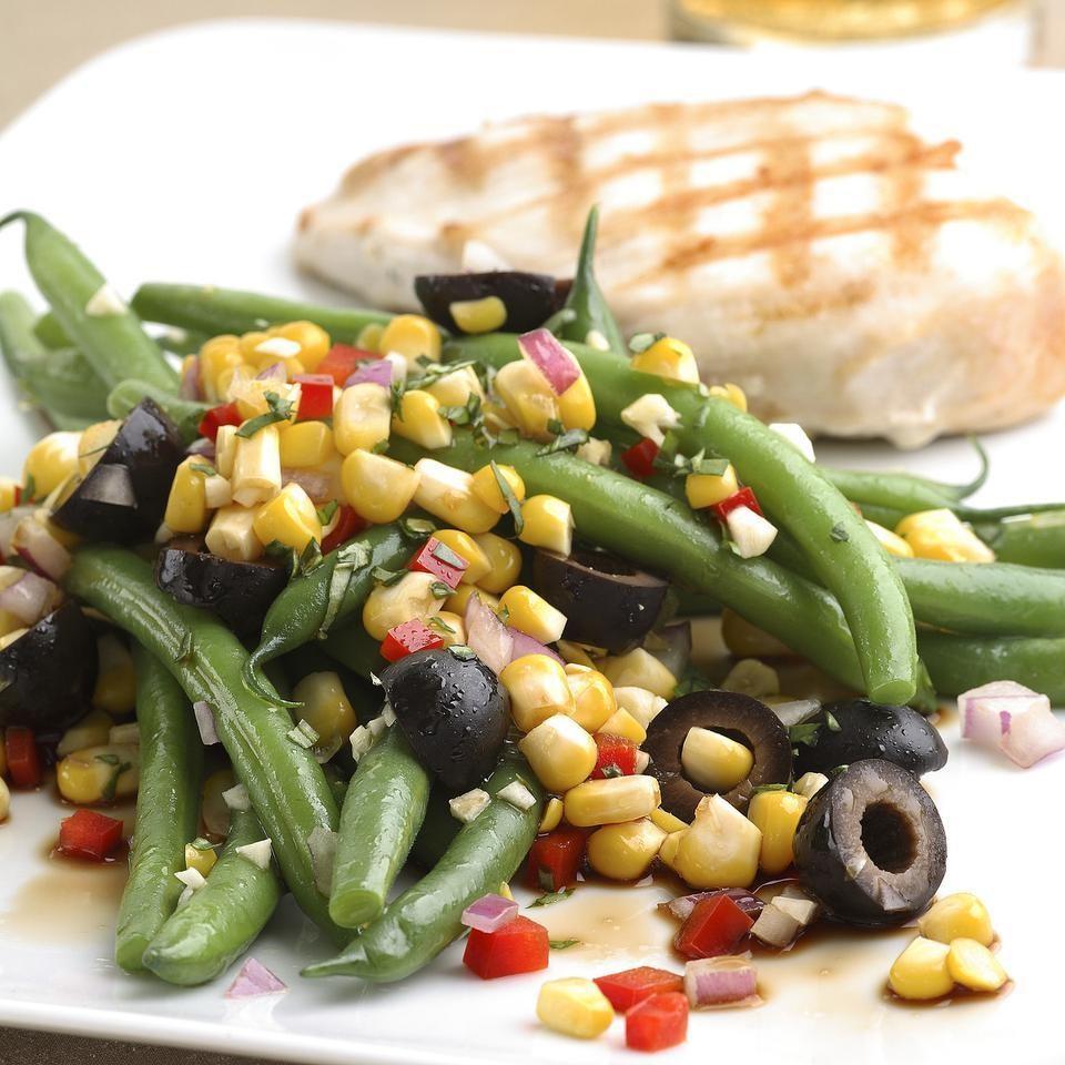 Green Bean Salad with Corn, Basil & Black Olives