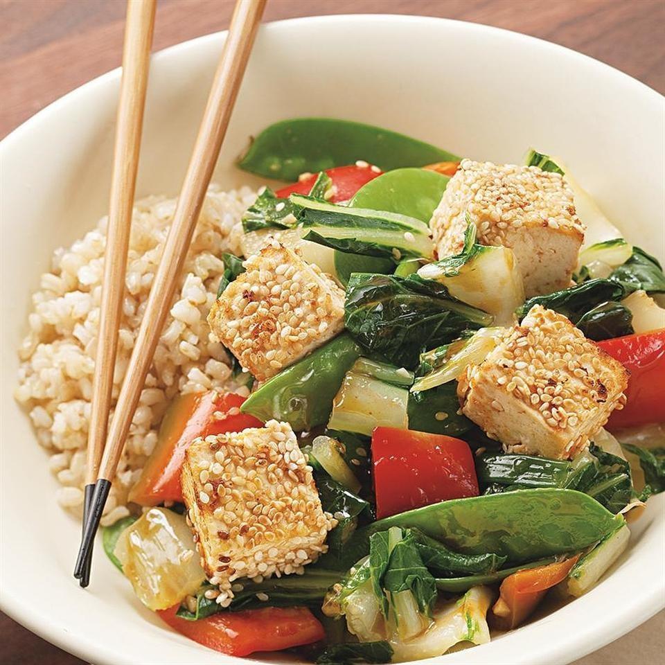 Sesame-Crusted Tofu Over Vegetables Recipe