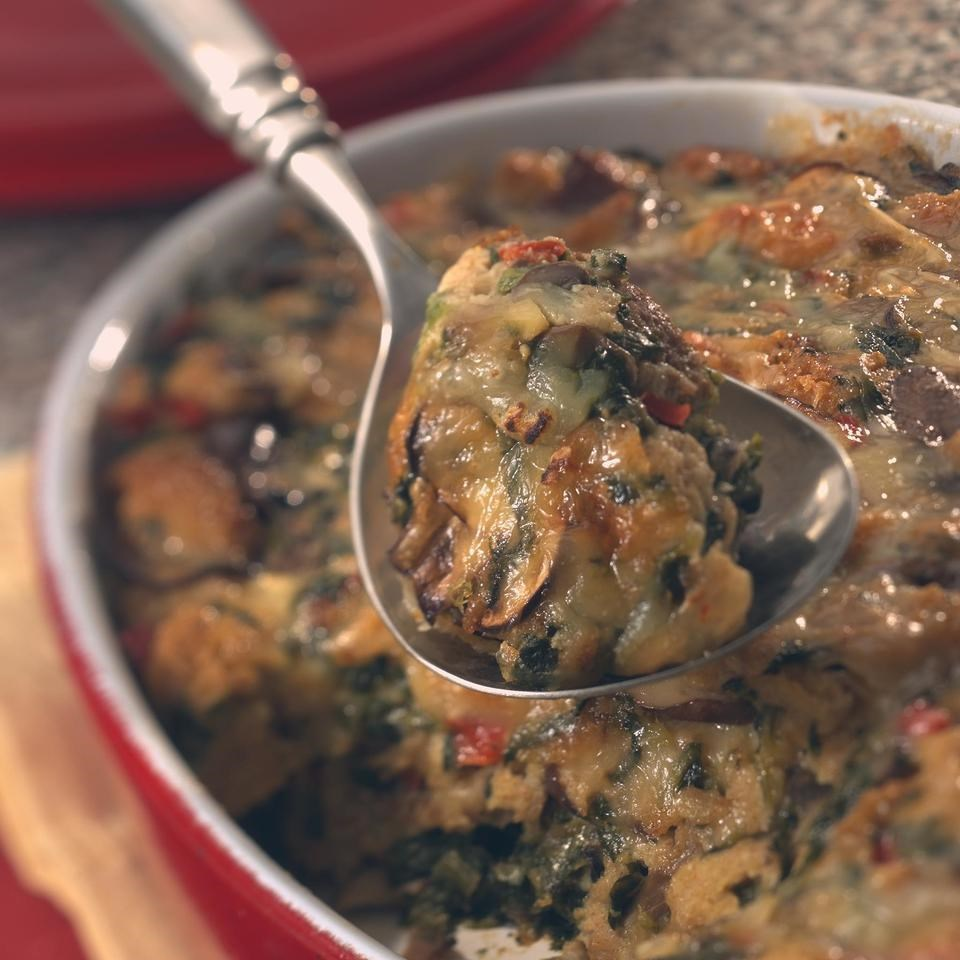 Savory Bread Pudding with Spinach & Mushrooms