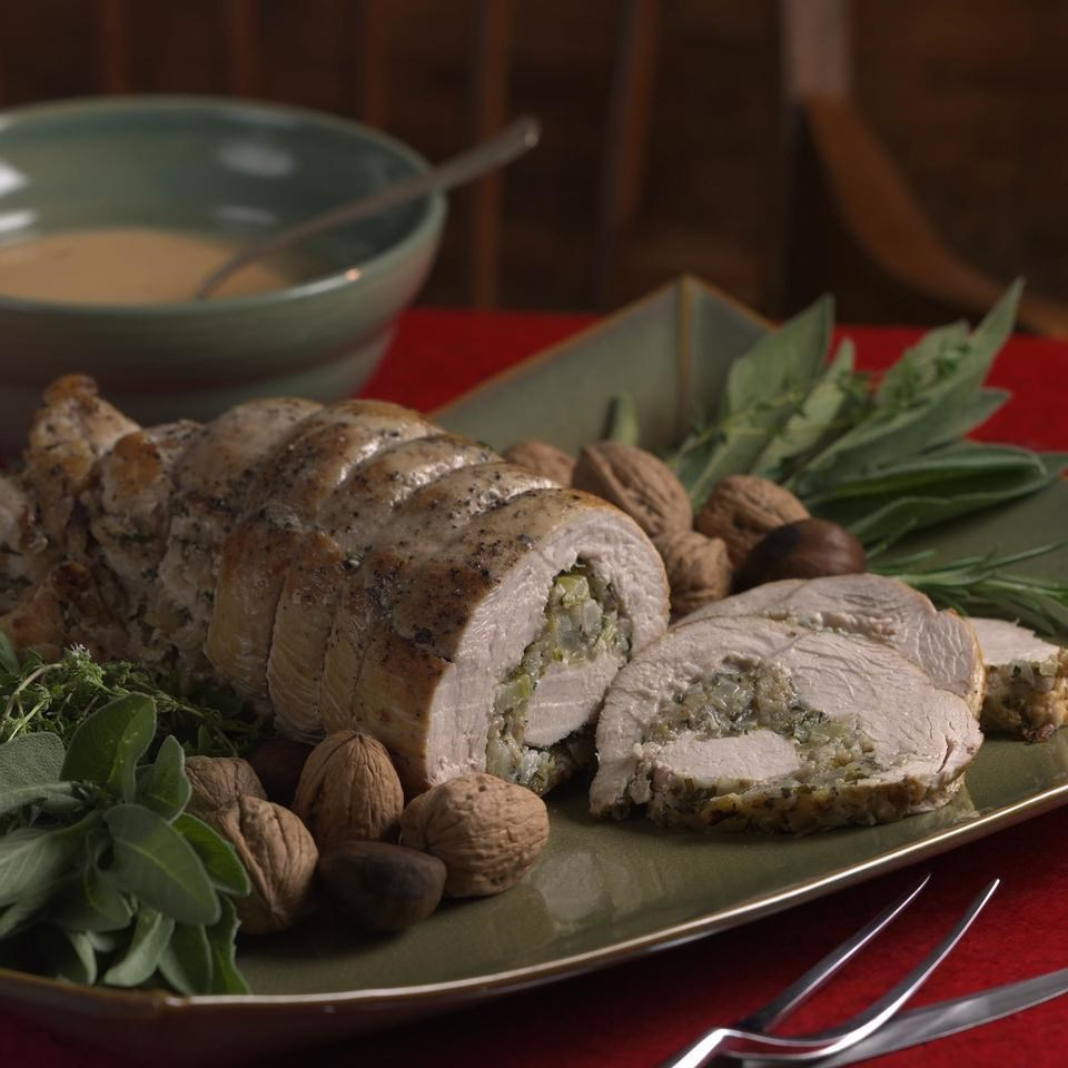 Spiral Stuffed Turkey Breast with Cider Gravy