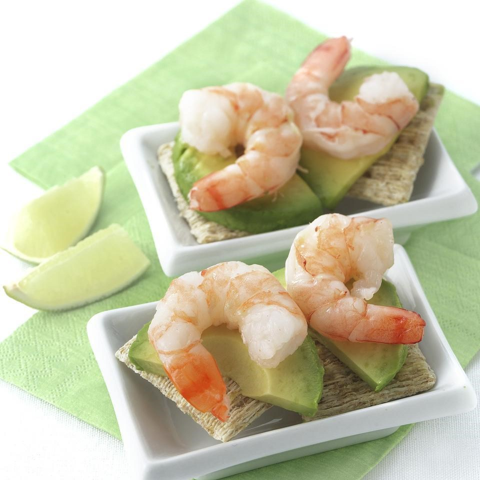 Shrimp avocado canapes recipe eatingwell for Simple canape appetizer