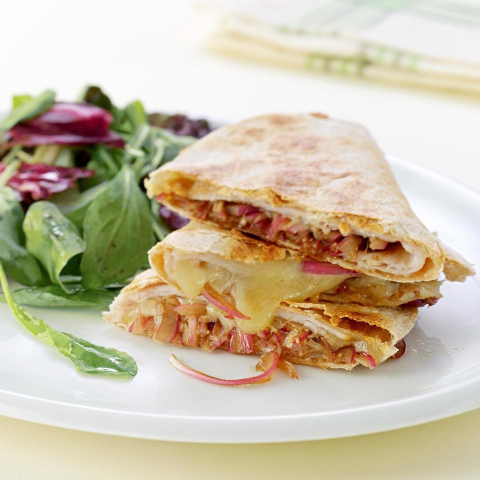 Turkey Amp Balsamic Onion Quesadillas Recipe Eatingwell