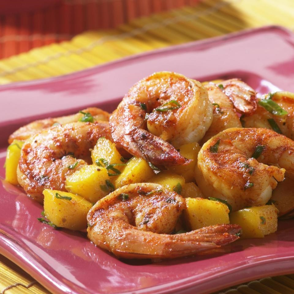 Shrimp With Mango & Basil Recipe