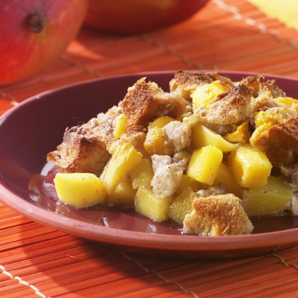Mango Bread Pudding with Chai Spices