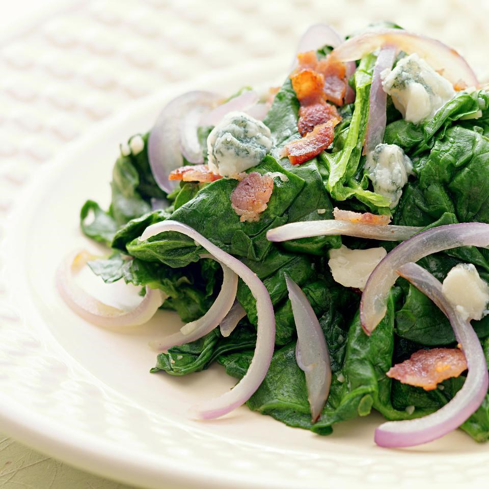 Sauteed Spinach With Red Onion, Bacon & Blue Cheese Recipe