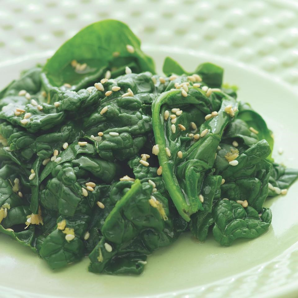 Spinach With Sesame And Garlic Recipe — Dishmaps