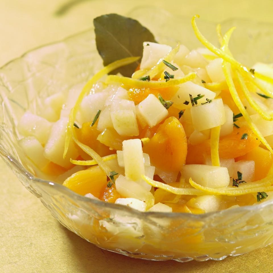Pear & Dried Apricot Salsa with Lemon & Rosemary