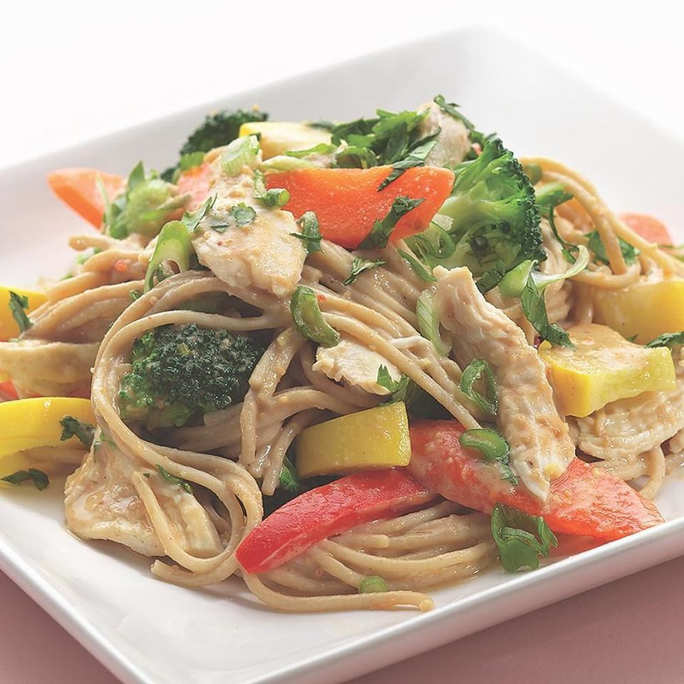 Peanut noodles with shredded chicken vegetables recipe for What vegetables to put in chicken noodle soup