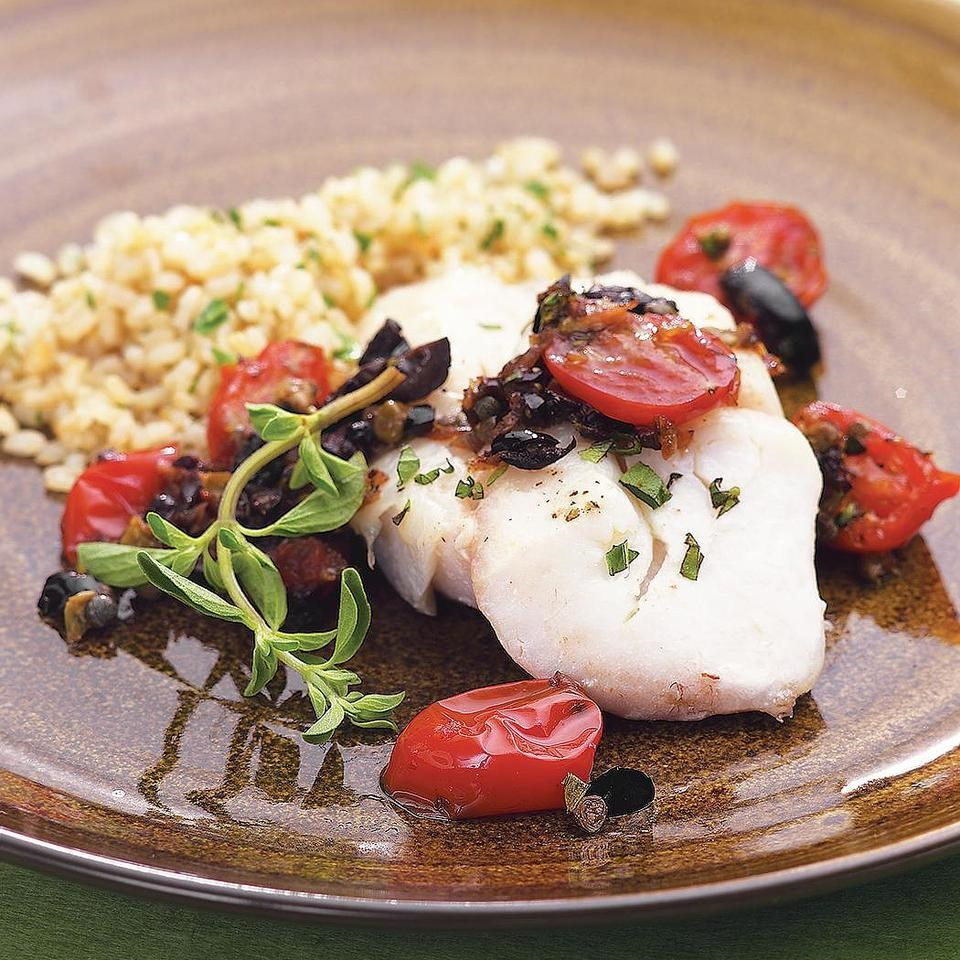 Roasted Cod with Warm Tomato-Olive-Caper Tapenade