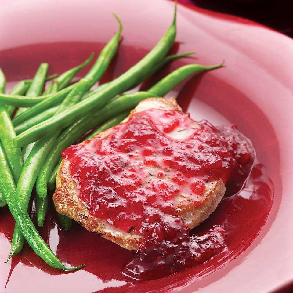 Easy Pork Chop Saute with Cranberries