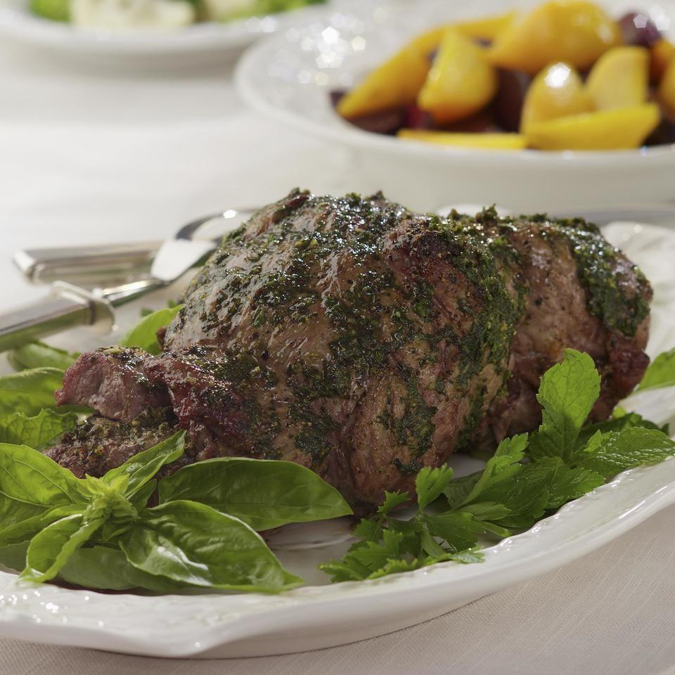 Mint-Pesto Rubbed Leg of Lamb