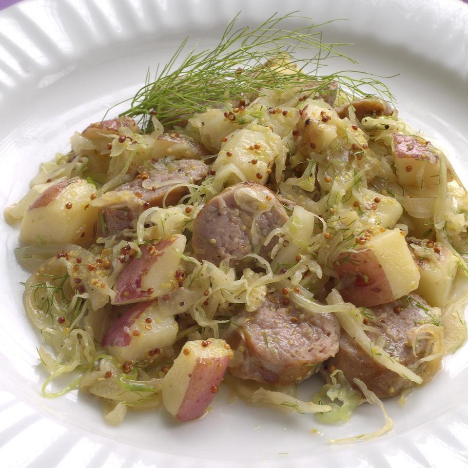 Fennel Sauerkraut with Turkey Sausage & Potatoes