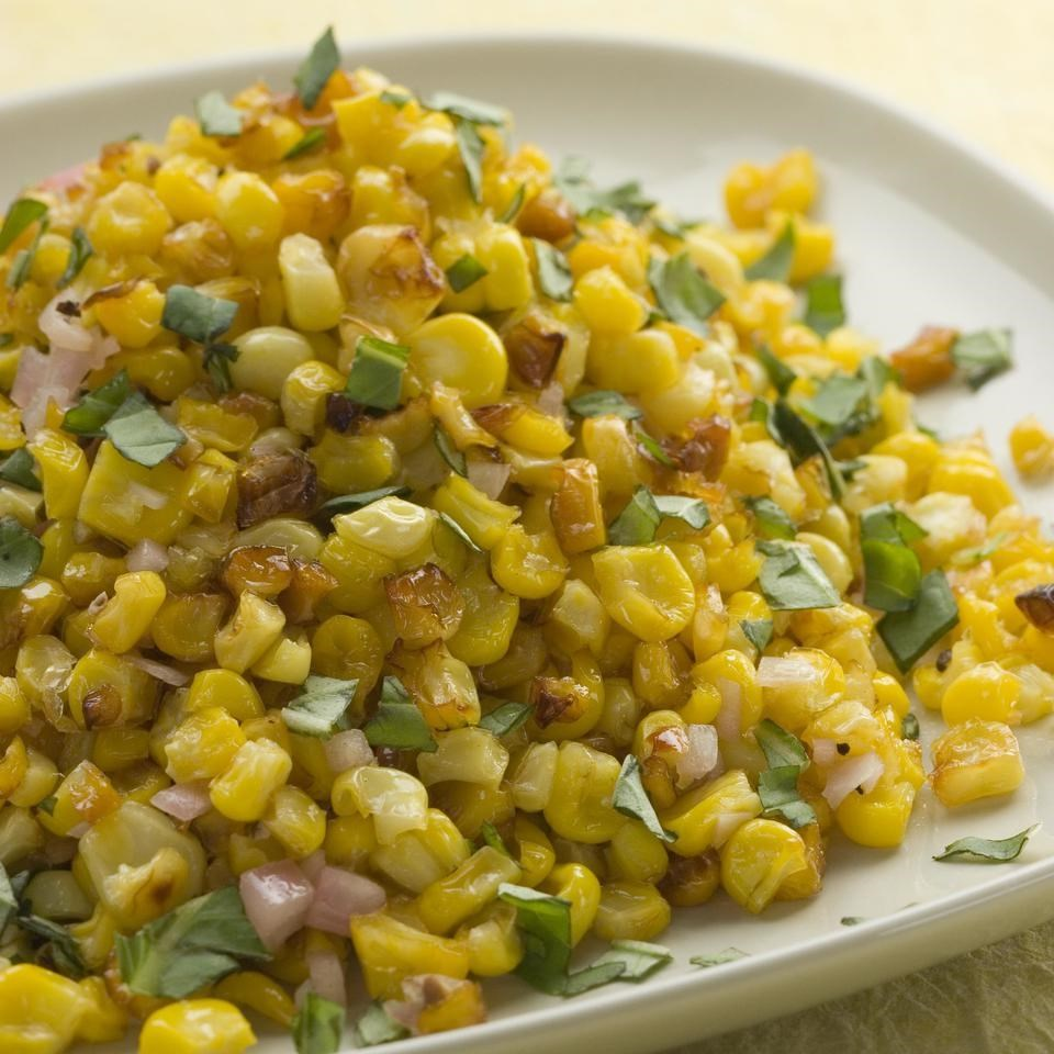 Roasted Corn with Basil-Shallot Vinaigrette