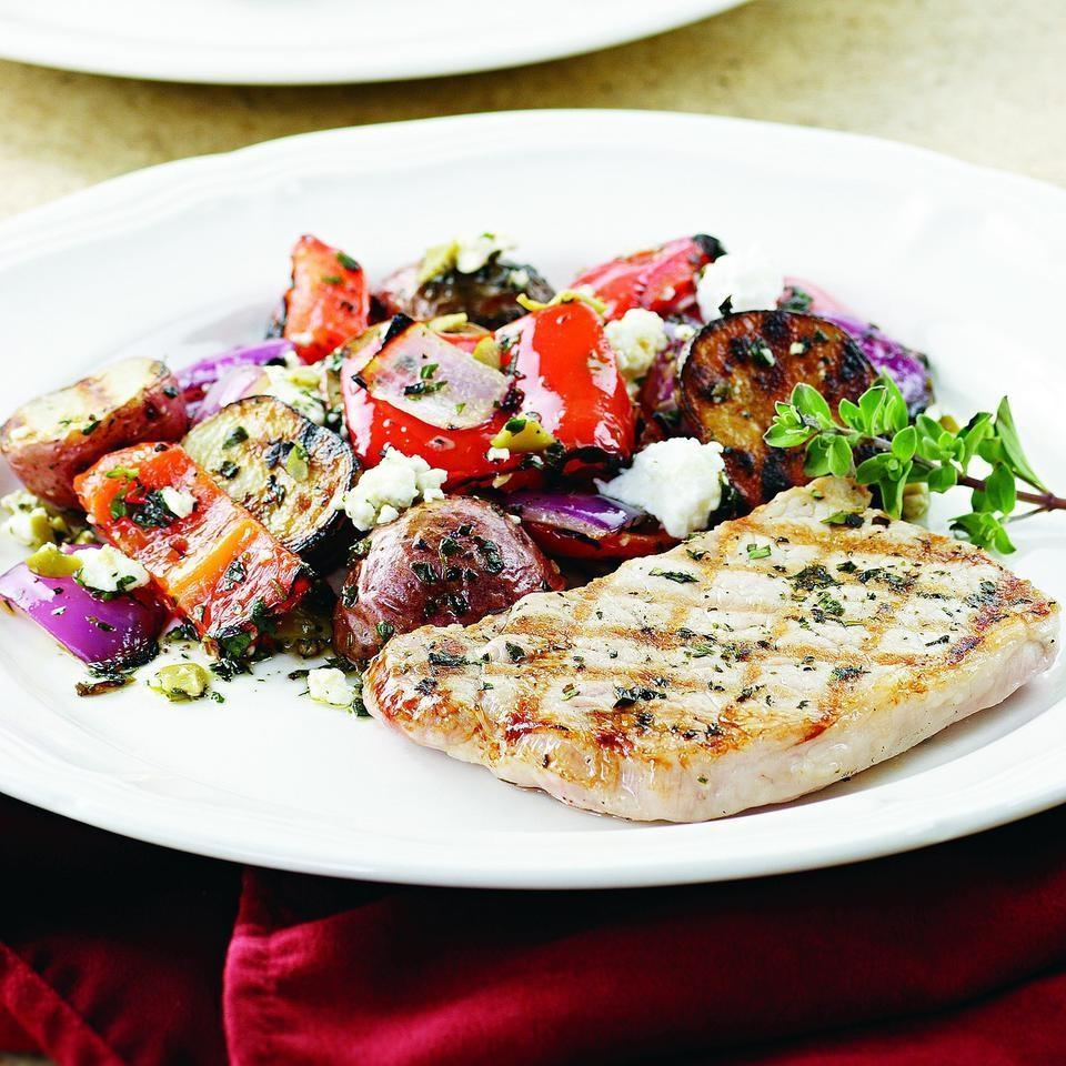 Marjoram-Rubbed Pork & Grilled Potato Salad Recipe ...