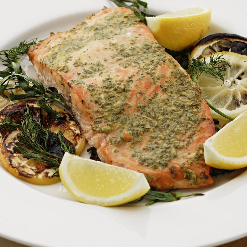Grilled salmon with mustard herbs recipe eatingwell for Grilled fish recipes