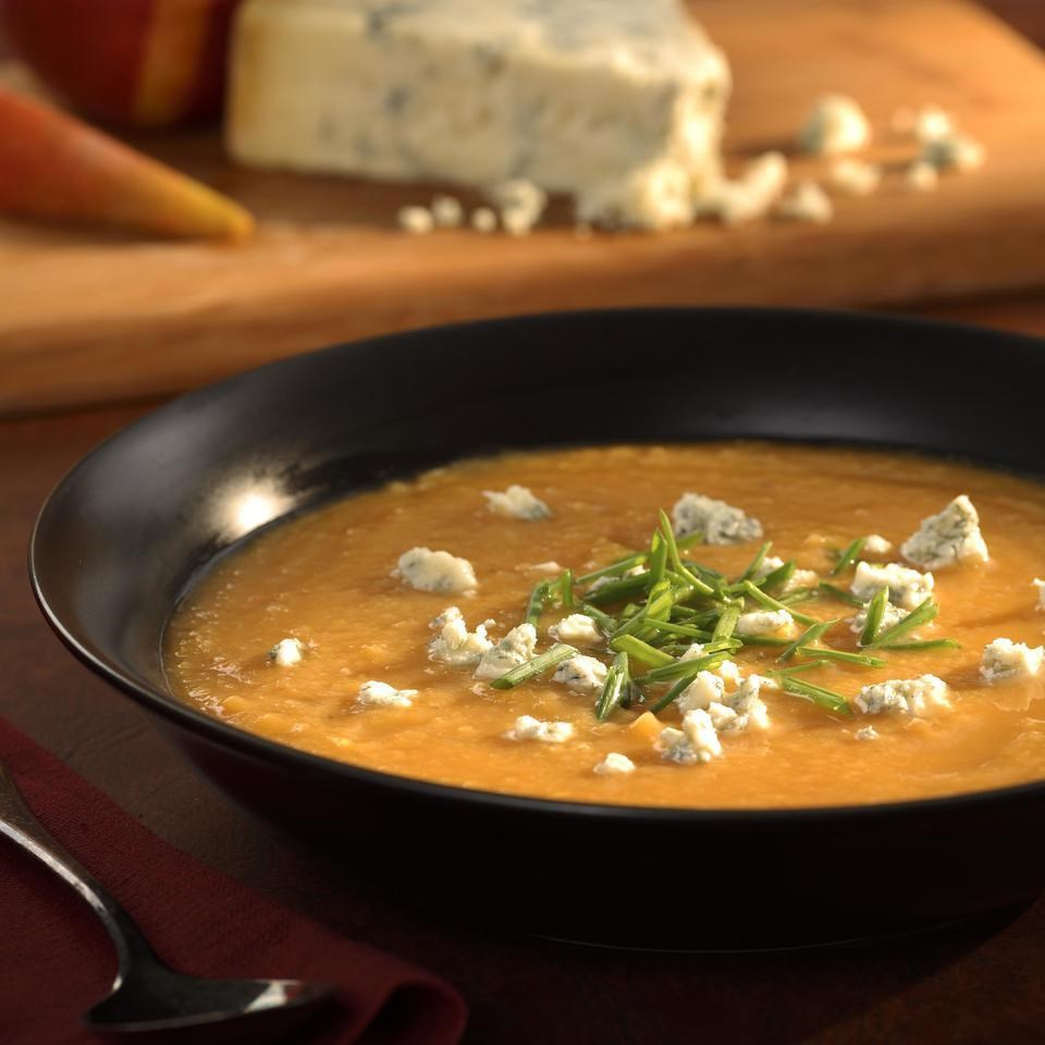 Roasted Pear-Butternut Soup with Crumbled Stilton