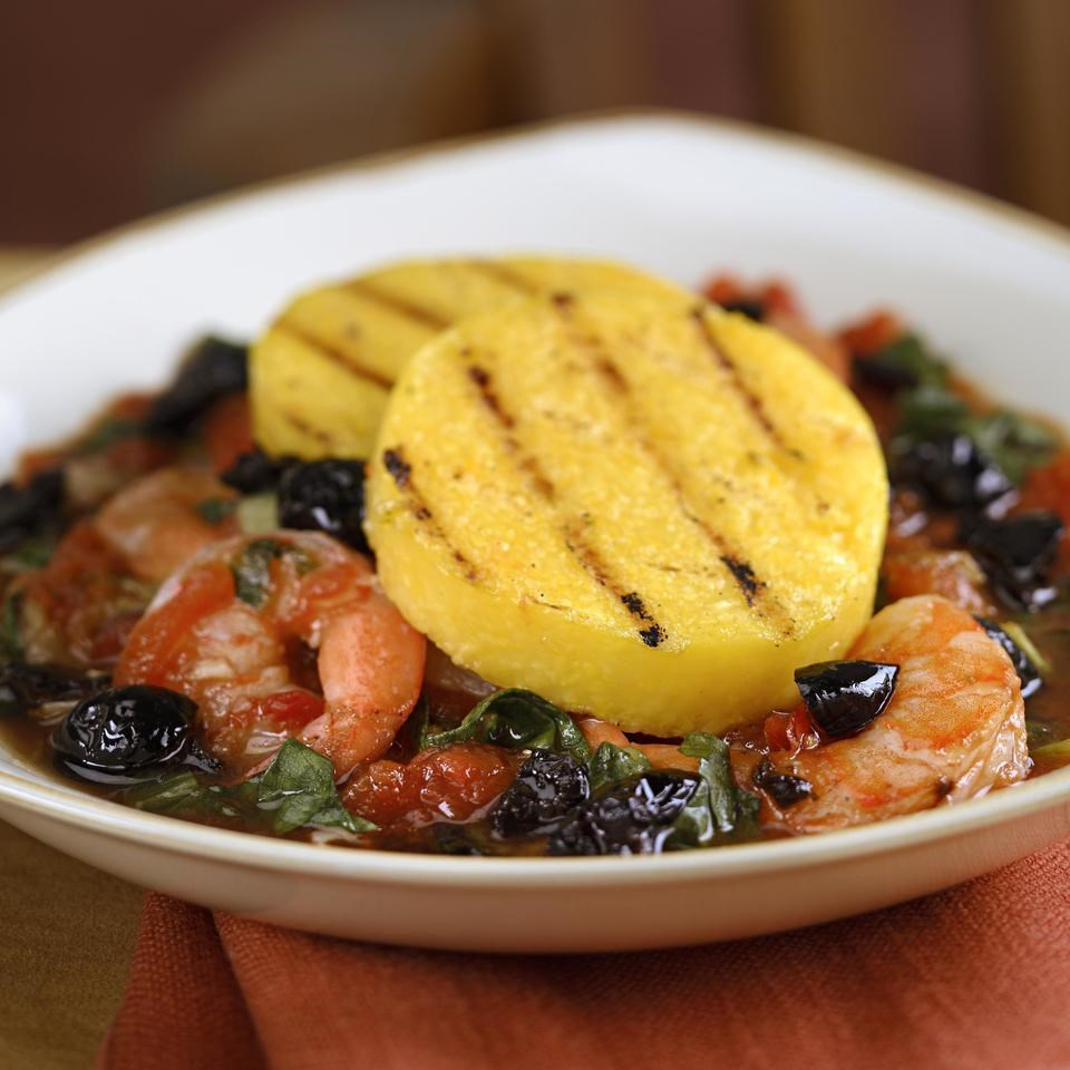 Grilled Polenta with Shrimp & Escarole