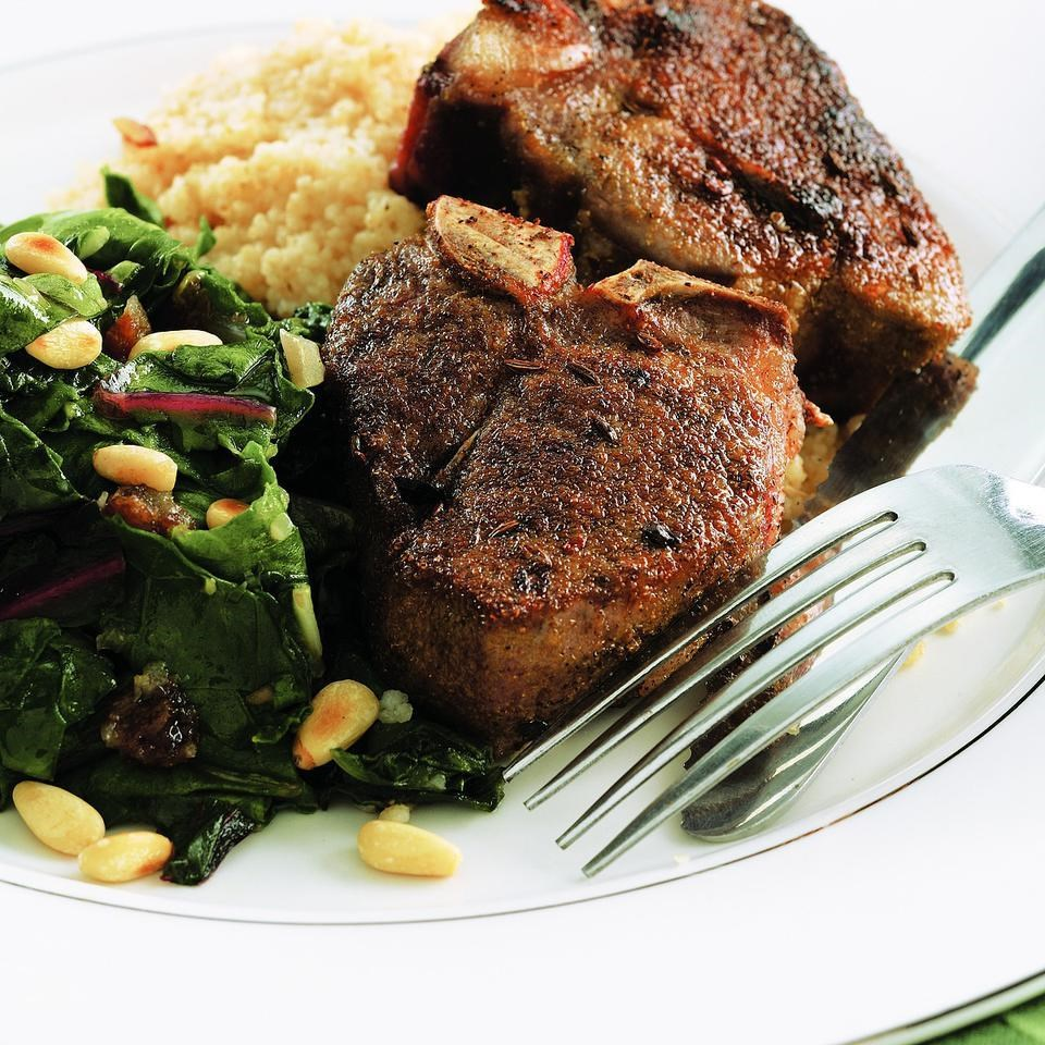 Tunisian Spiced Lamb Chops & Chard Recipe - EatingWell