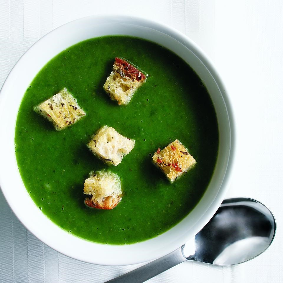 Spinach Soup with Rosemary Croutons Recipe - EatingWell.com