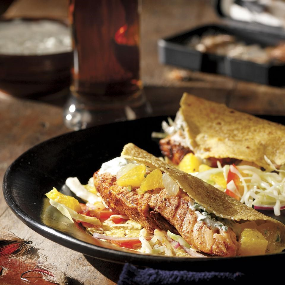 Grilled salmon soft tacos recipe eatingwell for Grilled fish taco recipe with cabbage slaw