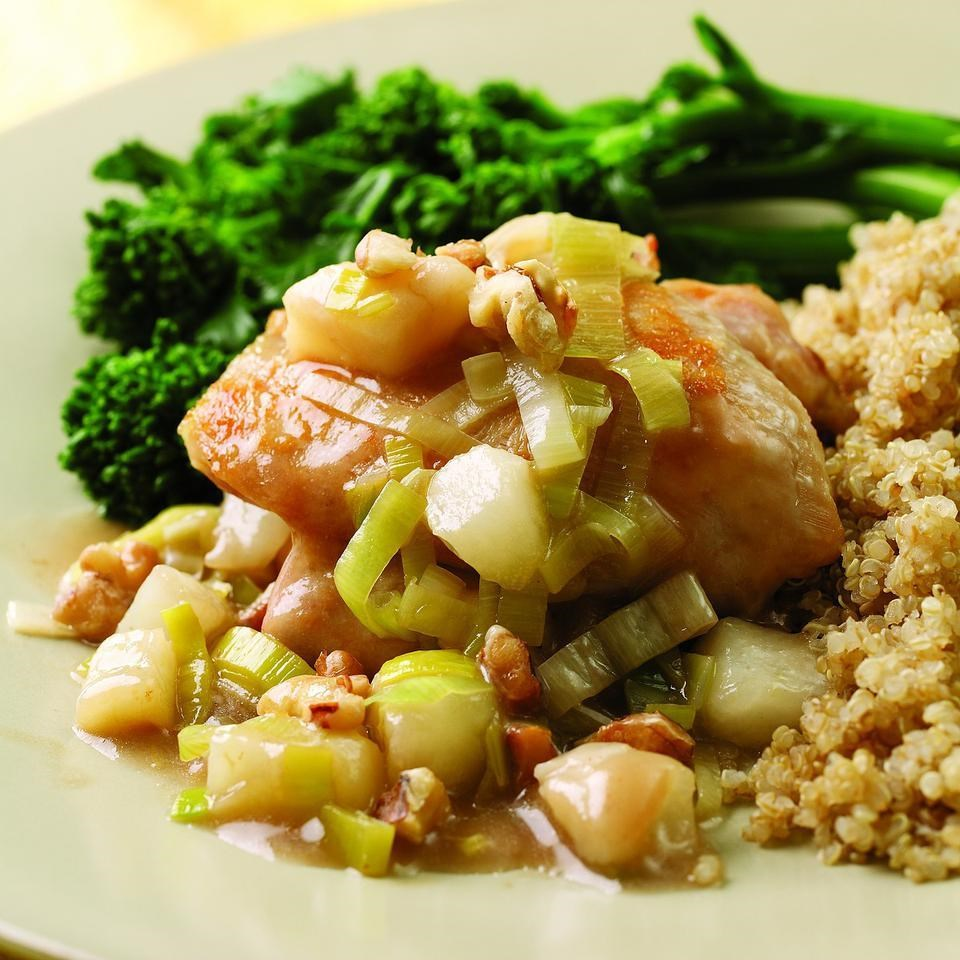 Chicken Thighs with Pear & Leek Sauce Recipe - EatingWell