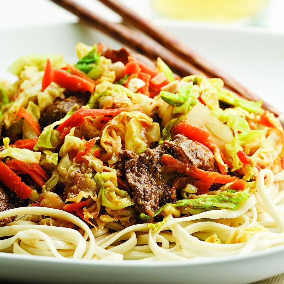 Beef & Cabbage Stir-Fry With Peanut Sauce Recipe