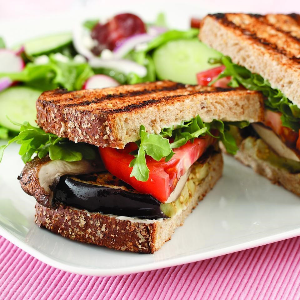 Grilled Eggplant & Portobello Sandwich Recipe - EatingWell