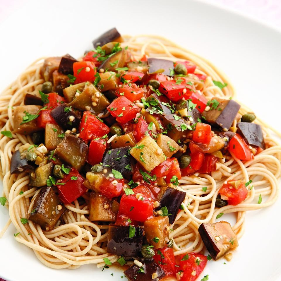 Pasta With Eggplant, Portobella, And Tomatoes Recipe — Dishmaps
