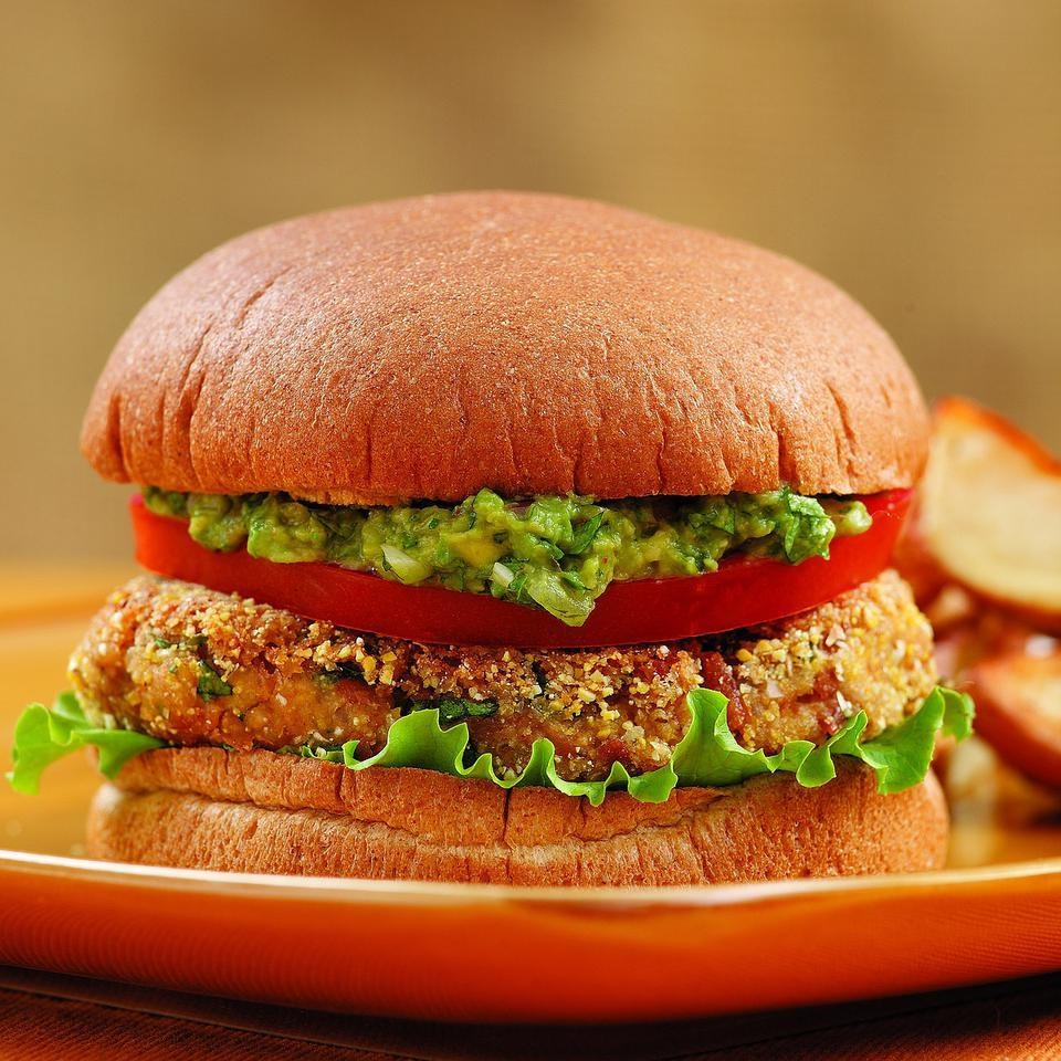 Bean Burgers with Spicy Guacamole Recipe - EatingWell