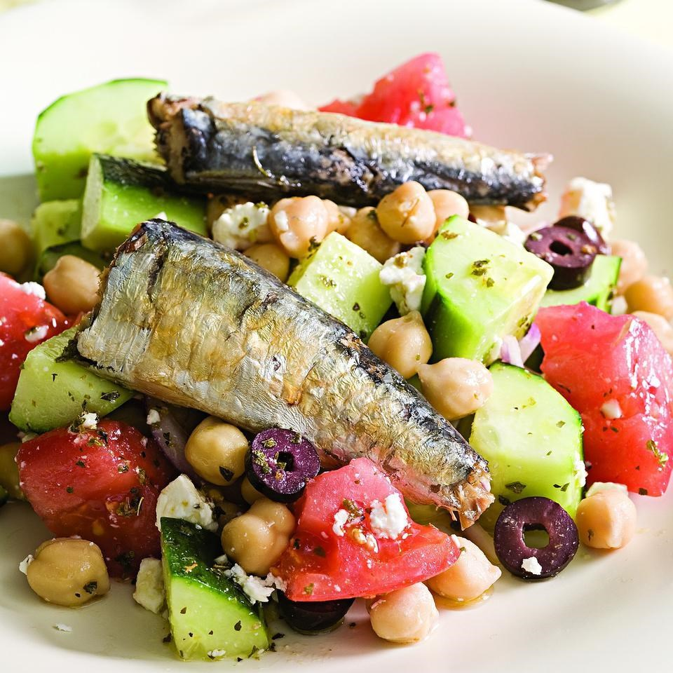 Greek salad with sardines recipe eatingwell - Healthy greek recipes for dinner mediterranean savour ...