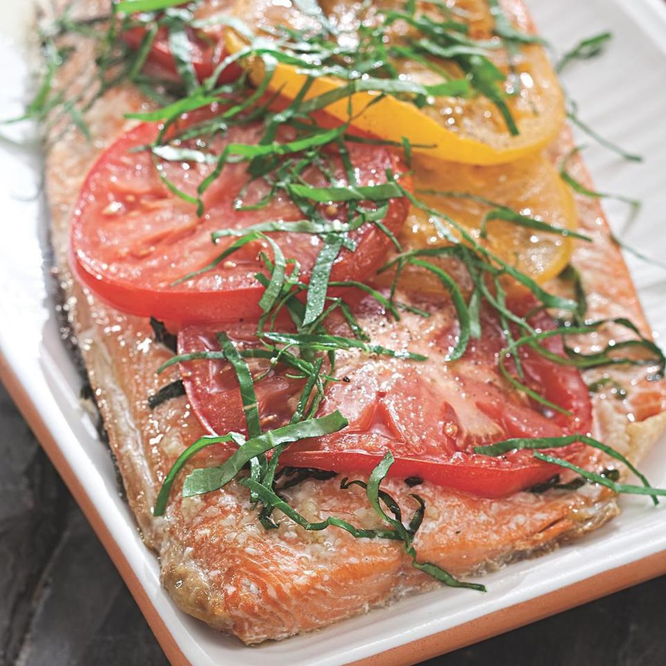 Grilled Salmon with Tomatoes & Basil