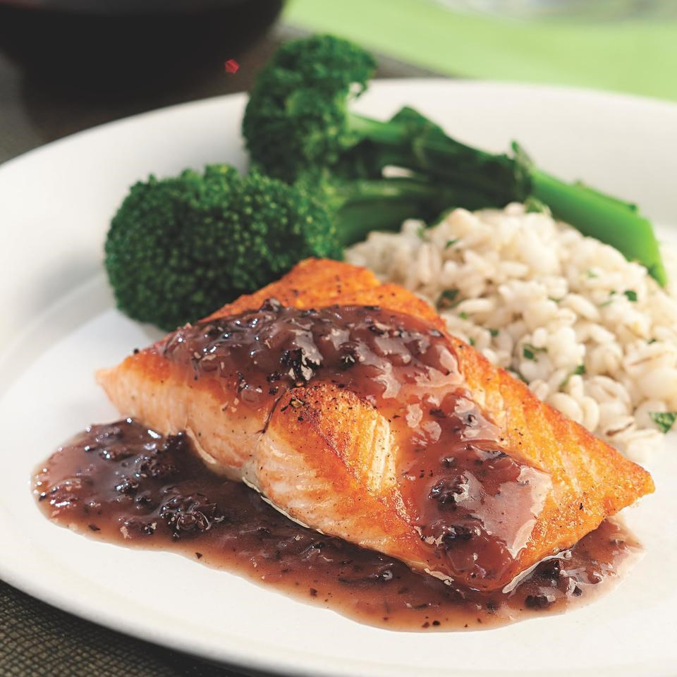 Salmon with Red Wine-Morel Sauce