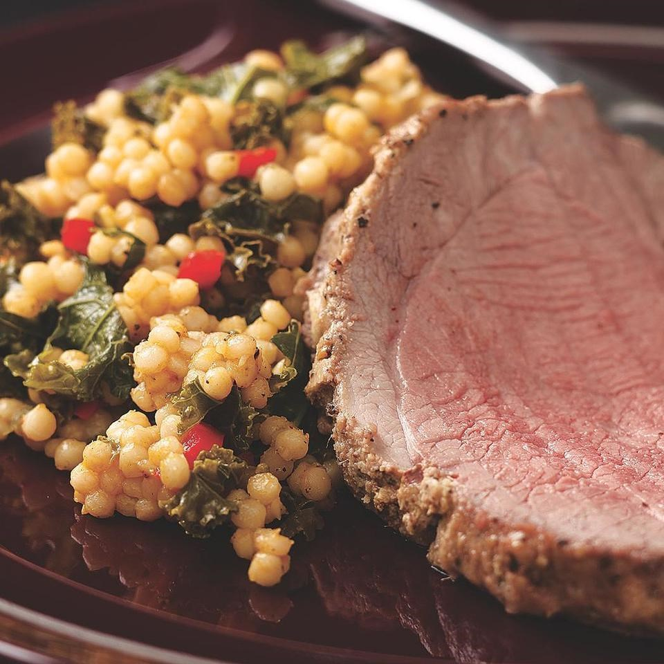 Ginger-Marinated Leg of Lamb with Israeli Couscous & Kale