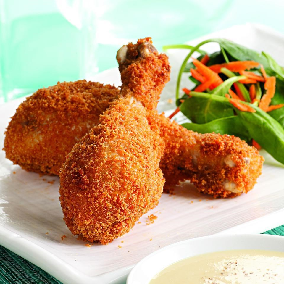 Crispy Baked Drumsticks with Honey-Mustard Sauce