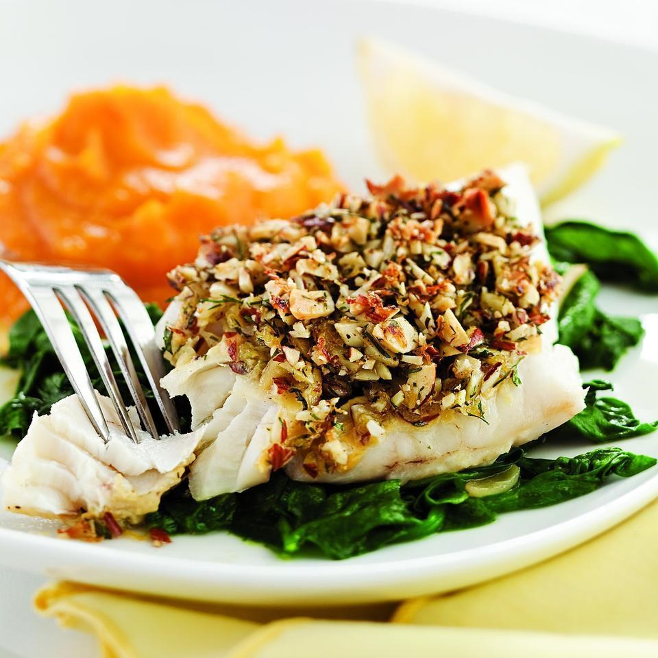 almond lemon crusted fish with spinach recipe eatingwell