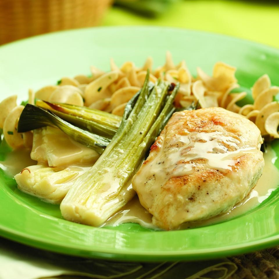 Chicken with Creamy Braised Leeks