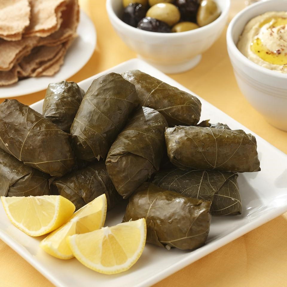 Chickpea & Bulgur Stuffed Grape Leaves