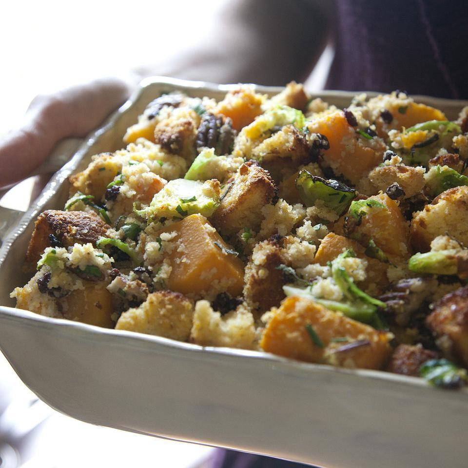 Cornbread Stuffing with Brussels Sprouts & Squash