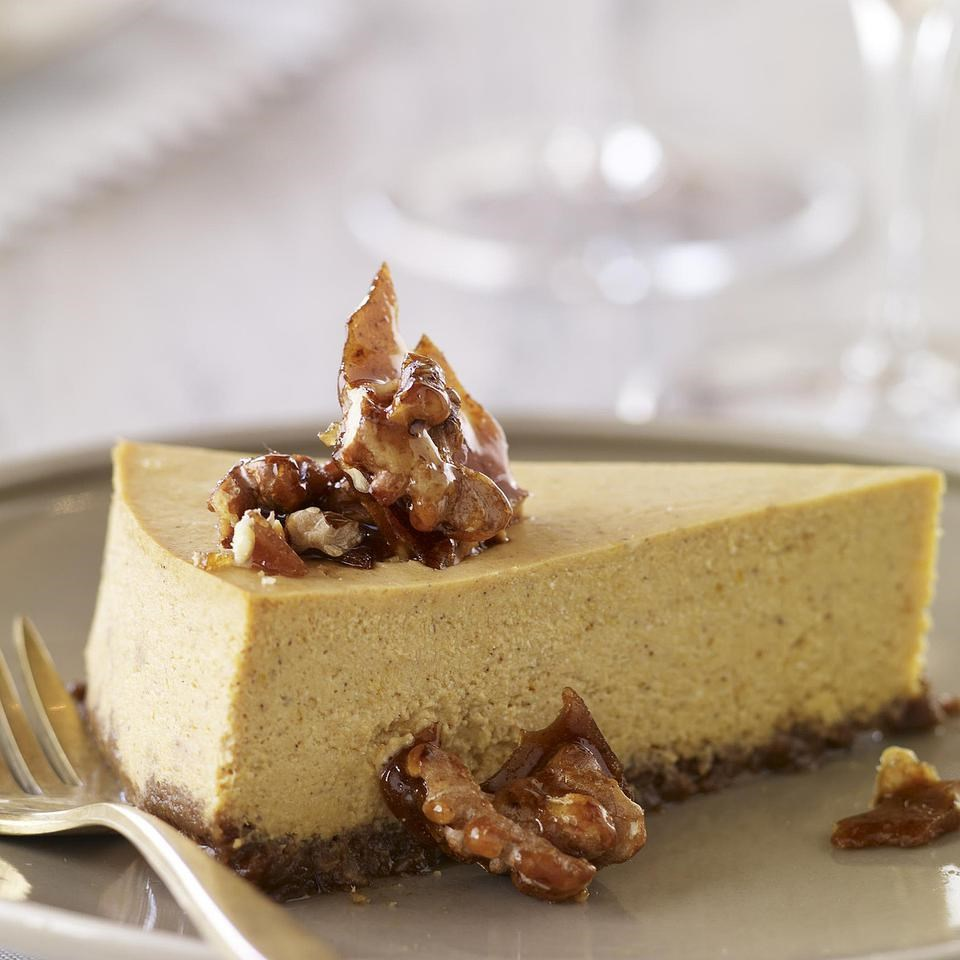 Gluten-Free Pumpkin Cheesecake with Gingersnap-Walnut Crust