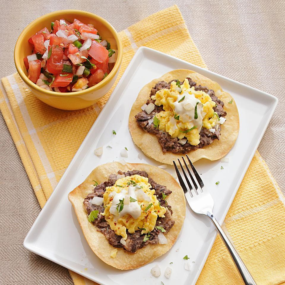 Black Bean & Chipotle Tostadas with Creme Fraiche Recipe - EatingWell ...