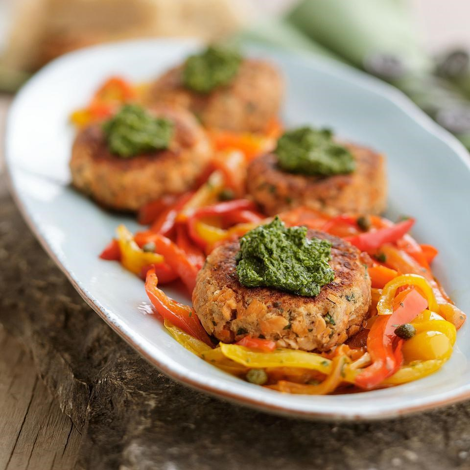 Pink Salmon Cakes with Cilantro Pesto